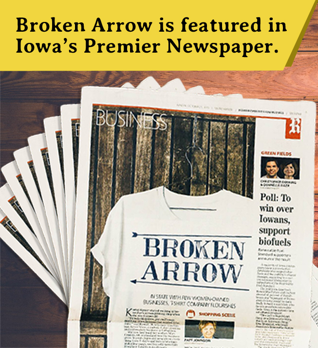 Broken Arrow Wear Featured in Des Moines Register