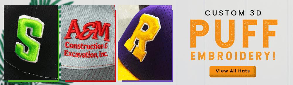 02edbdd4af2a9 3D Puff Embroidery Hats Customized