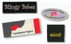 Customized woven tags for your designed screen printed or embroidered apparel order